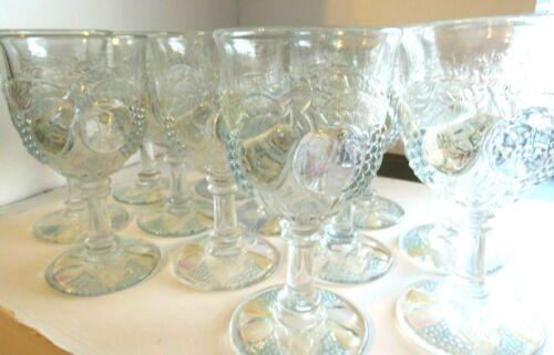 Set-12 Vtg Westmoreland Della Robbia Pastel Flash Iridescent Fruit Wine Glasses