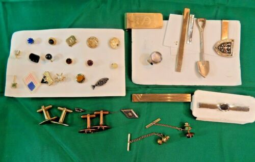 Lot of 30 pieces -Mens Jewelry Vintage to Modern Cufflinks Clips Tie Tacks Pins
