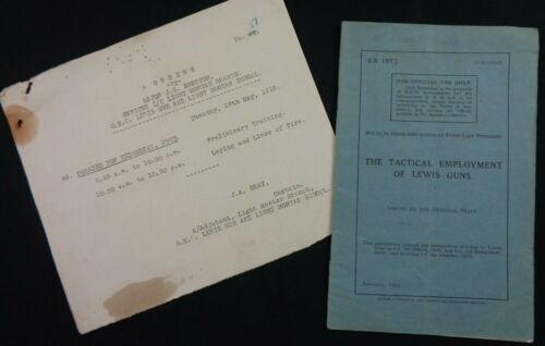 """Original WW1 (1918) LEWIS MG """"TACTICAL EMPLOYMENT"""" Manual PLUS Official """"ORDERS"""""""