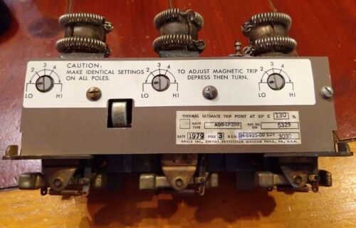 ITE Gould NAVY Circuit Breaker Trip Unit Type AQB-LF250 1H-5925-11-624-3030 5329