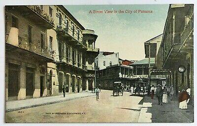 Postcard Panama City Panama Street View people stores sign buildings Underwood (Panama City Stores)