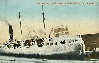Last Boat of Season Fort Williams Ontario ON Steam Ship Ice c1913 Postcard E12