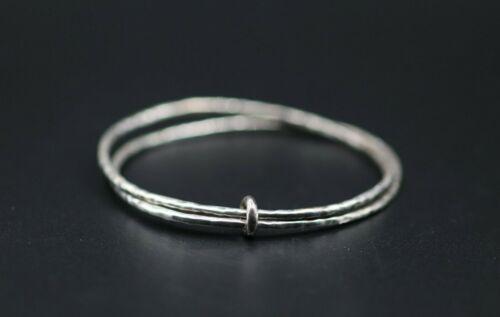 VINTAGE .925 Sterling Silver Handmade Double Bangle Bracelet