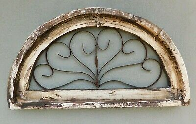 Wooden Antique Style Church WINDOW Wrought Iron Primitive Wood Rustic Gothic    for sale  Shipping to South Africa