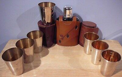 Vintage leather glass Flask England + 7 Metal Shot Glasses Leather Case Hunting