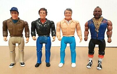 Set of 4 Vintage 1983 THE A-TEAM ACTION FIGURES - Murdoch, Face, Hannibal & BA