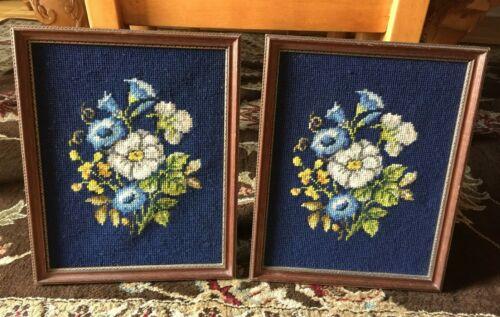 """Vintage Framed Needlepoint Floral Pictures 13"""" x 11"""" Set of 2 Navy Blue"""