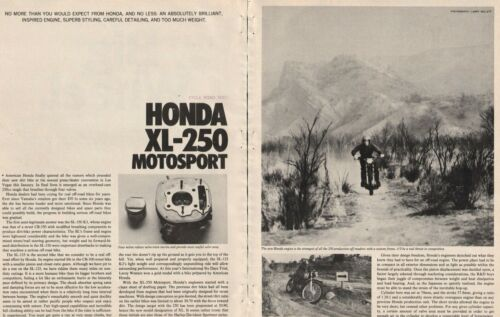 1972 Honda XL-250 Motosport - 8-Page Vintage Motorcycle Road Test Article