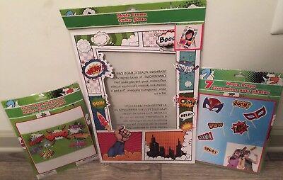 3 Pc Super Hero Theme Party Photo Props Set.  - Superhero Themed Party