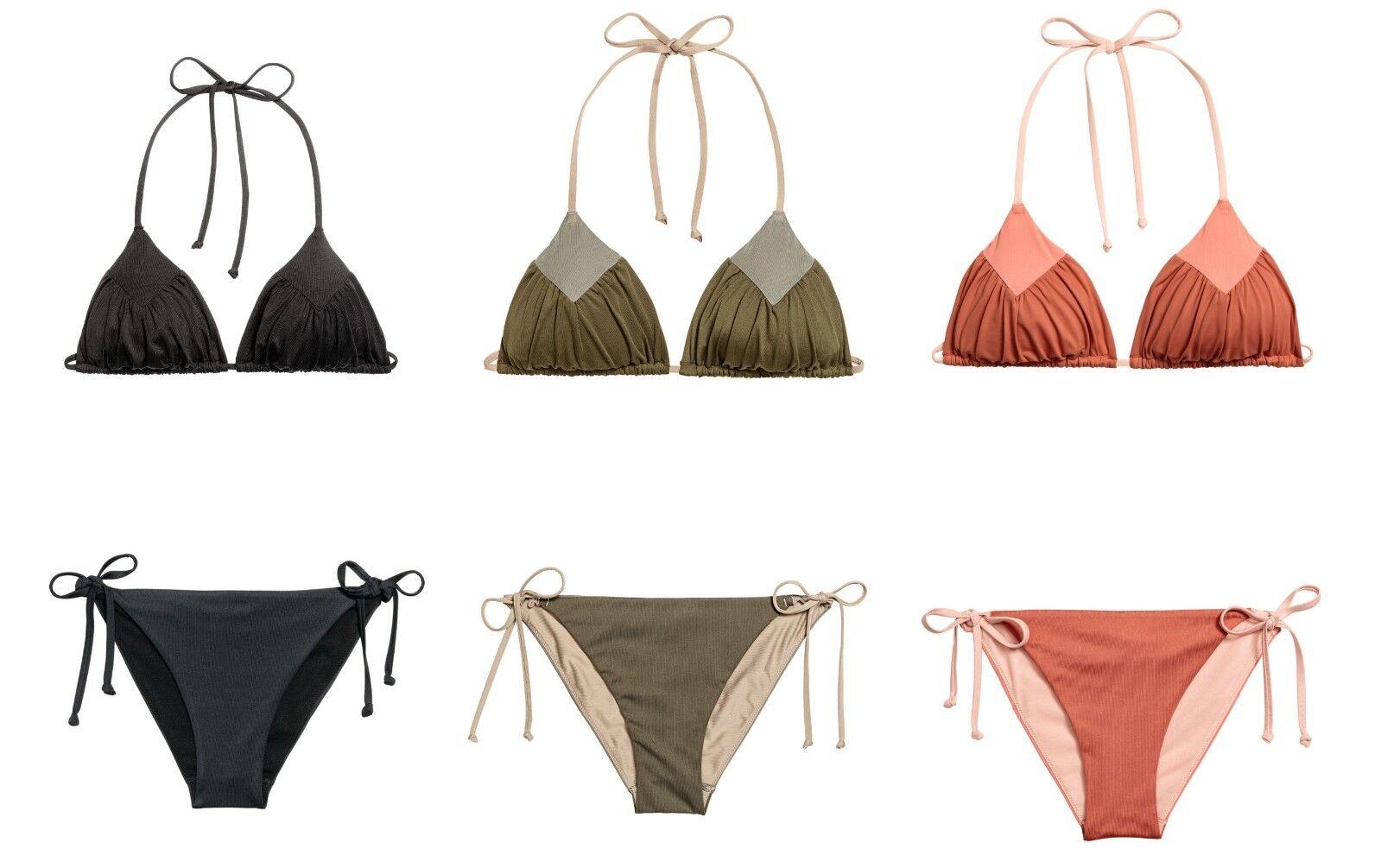 NEU H&M Triangle Neckholder Bikini schwarz khaki rost 36 38 40 Raffung Schnürung