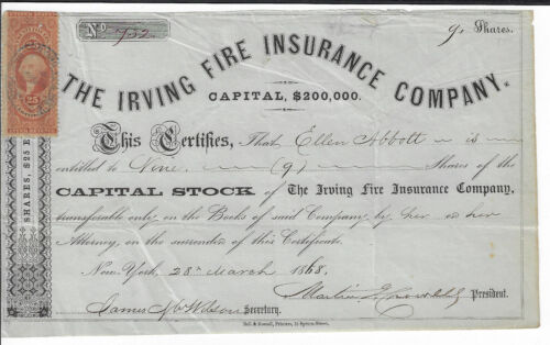 NEW YORK 1868 The Irving Fire Insurance Company Stock Certificate