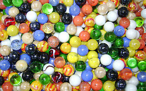 NEW-100-MIXED-16mm-GLASS-MARBLES-TRADITIONAL-GAME-or-COLLECTORS-ITEMS-HOM
