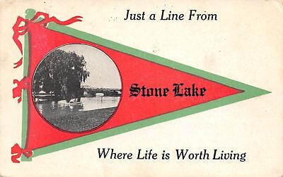 """""""Life is Worth Living"""" in Stone Lake Wisconsin~Boats~Truss Bridge~1916 Pennant"""