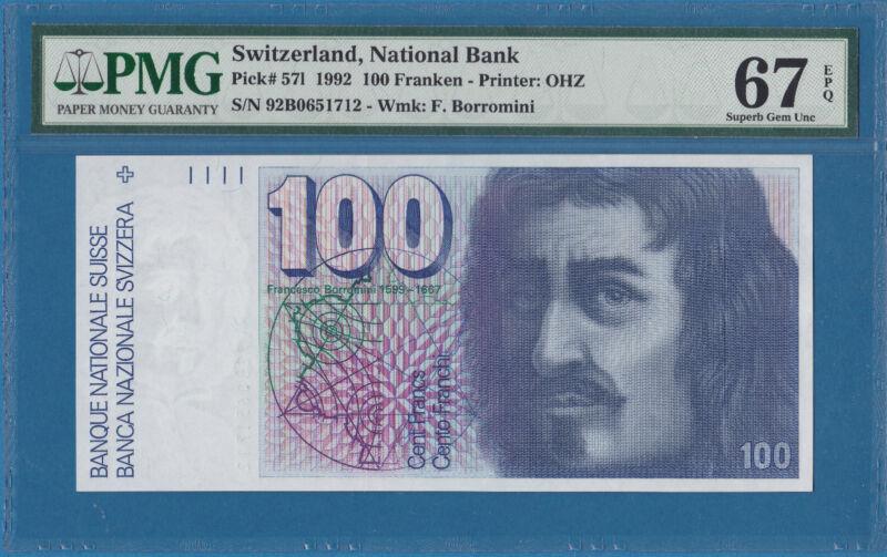 Switzerland 100 Franken, 1992, Superb Gem UNC-PMG67EPQ