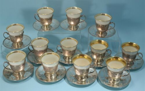 Gorham Sterling Silver Reticulated 12 Espresso Cups & Saucers Lenox Cups 1918