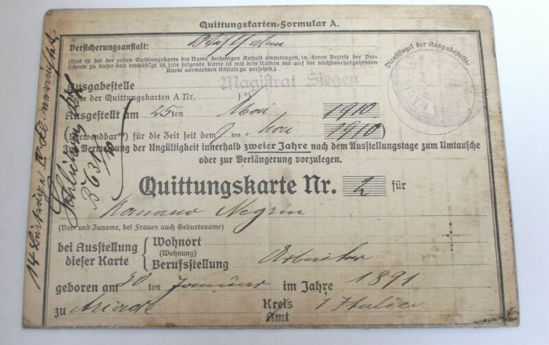 1910  italian by birth  workers  german medical insurance payment  stamps  card