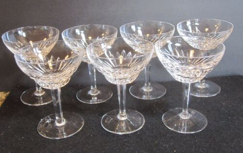 7 PC LOT HEAVY CUT CRYSTAL TALL CHAMPAGNE MARTINI GLASSES ROYAL LEERDAM RUBATO