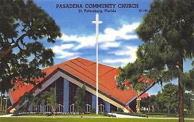 Vtg  Postcard Florida Pasadena Community Church St Petersburg Fl Unused   A61