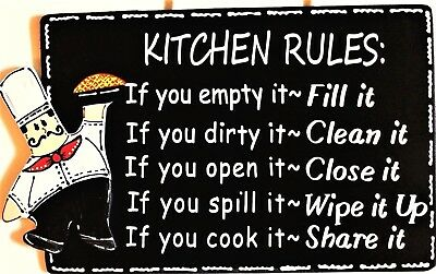 FAT CHEF Kitchen Rules SIGN Wall Art Hanger Plaque Cucina Bistro Wood Decor