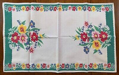 Vintage Wilendur Kitchen Tea Towel Floral Flowers Pretty Colors Green