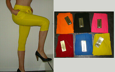 Fashion Damen NEON Leggings Capri 3/4 Treggings mit Gürtel S/M L/XL Stretch Neu