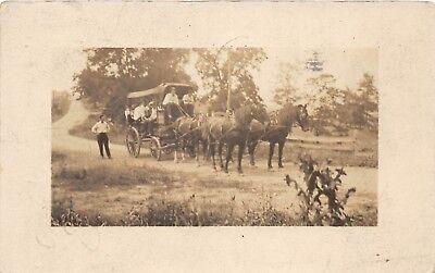 D87/ Wheeling West Virginia WV Real Photo RPPC Postcard 1912 Horse Carriage Crew