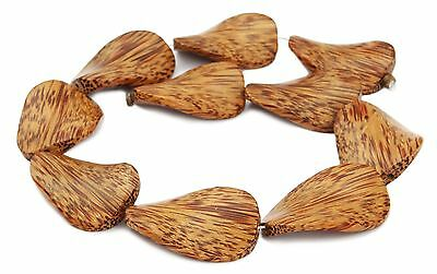 Kokospalmholz Perlen große gedrehte flache Ovale Holzperlen Naturperlen H.KO-1
