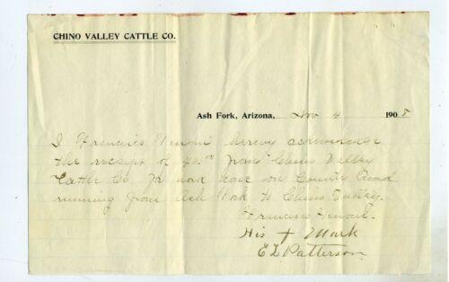 ARIZONA TERRITORY – CHINO VALLEY CATTLE COMPANY- BILLHEAD 1908