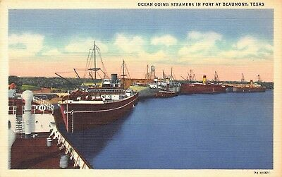 VTG POSTCARD OCEAN STEAMER SHIPS FISHING BOATS IN PORT BEAUMONT TEXAS TX / A85