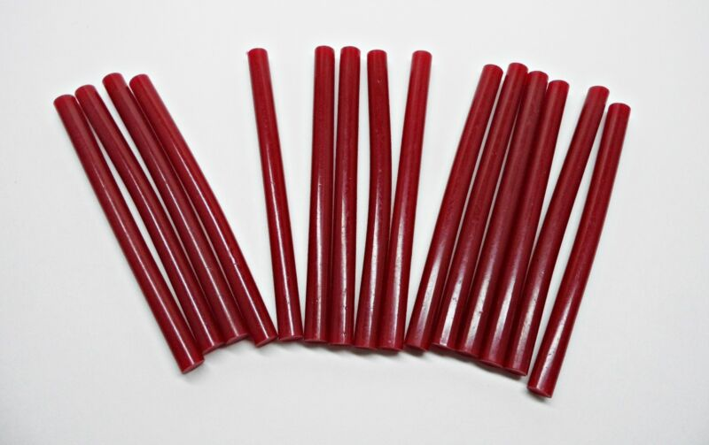"48 Halloween Blood Red Colored Mini Hot Melt Glue Sticks 4"" Length 5/16 (.25"")"