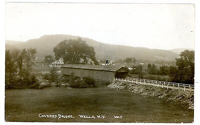 Wells Ny   Old Covered Bridge   Rppc Postcard Adirondacks