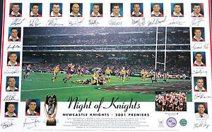 Newcastle Knights 2001 Grand Final Hand Signed Andrew Johns Lithograph