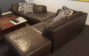 Leather 4 Seater Modular Lounge - Dark Chocolate colour Maryland Newcastle Area Preview