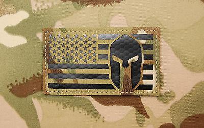 Infrared Multicam US Spartan Helmet Flag Patch IR Green Beret US Molon Labe