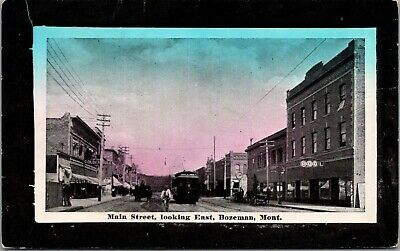Bozeman~Main St~Big Pool Hall~Trolley Chases Bike~Golden Rule Store c1910 (Bozeman Stores)