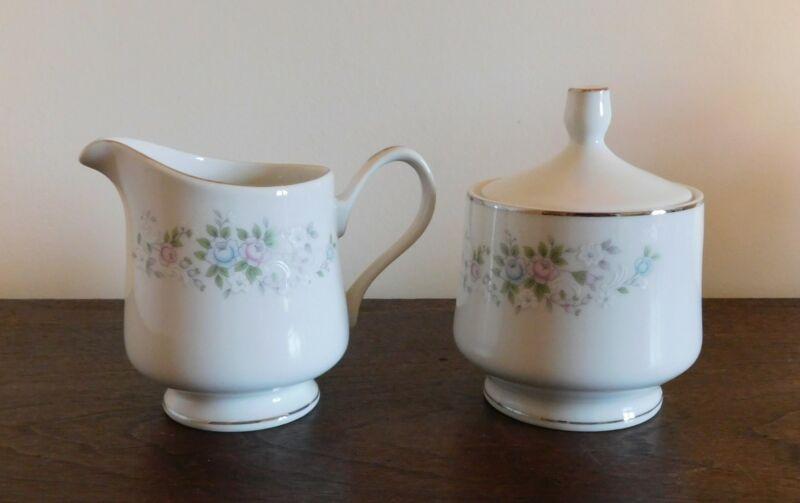 Creamer & Covered Sugar Bowl w/ lid Set -  CARLTON CORSAGE 481 JAPAN  Flowers