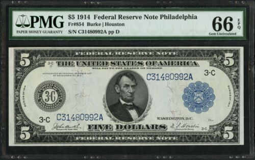Fr854 $5 1914 Frn Philadelphia Pmg 66 Epq Gem Unc (finest Known) Top Top Wlm2017