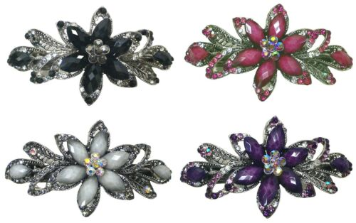 Bella Gorgeous Barrette Hair Clip with Beads and Crystals U86012-0014