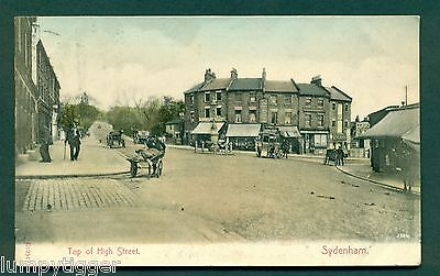 SYDENHAM,TOP OF HIGH STREET WITH SHOPS, vintage postcard