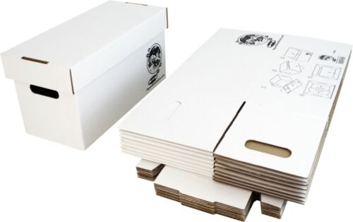 """(10) 7"""" White Record Boxes with Lids - Vinyl Singles 45rpm Cardboard Storage"""