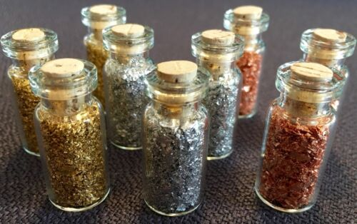 9 Large Bottles of... Gold - Silver - Copper  Flakes.. Lowest price online !!