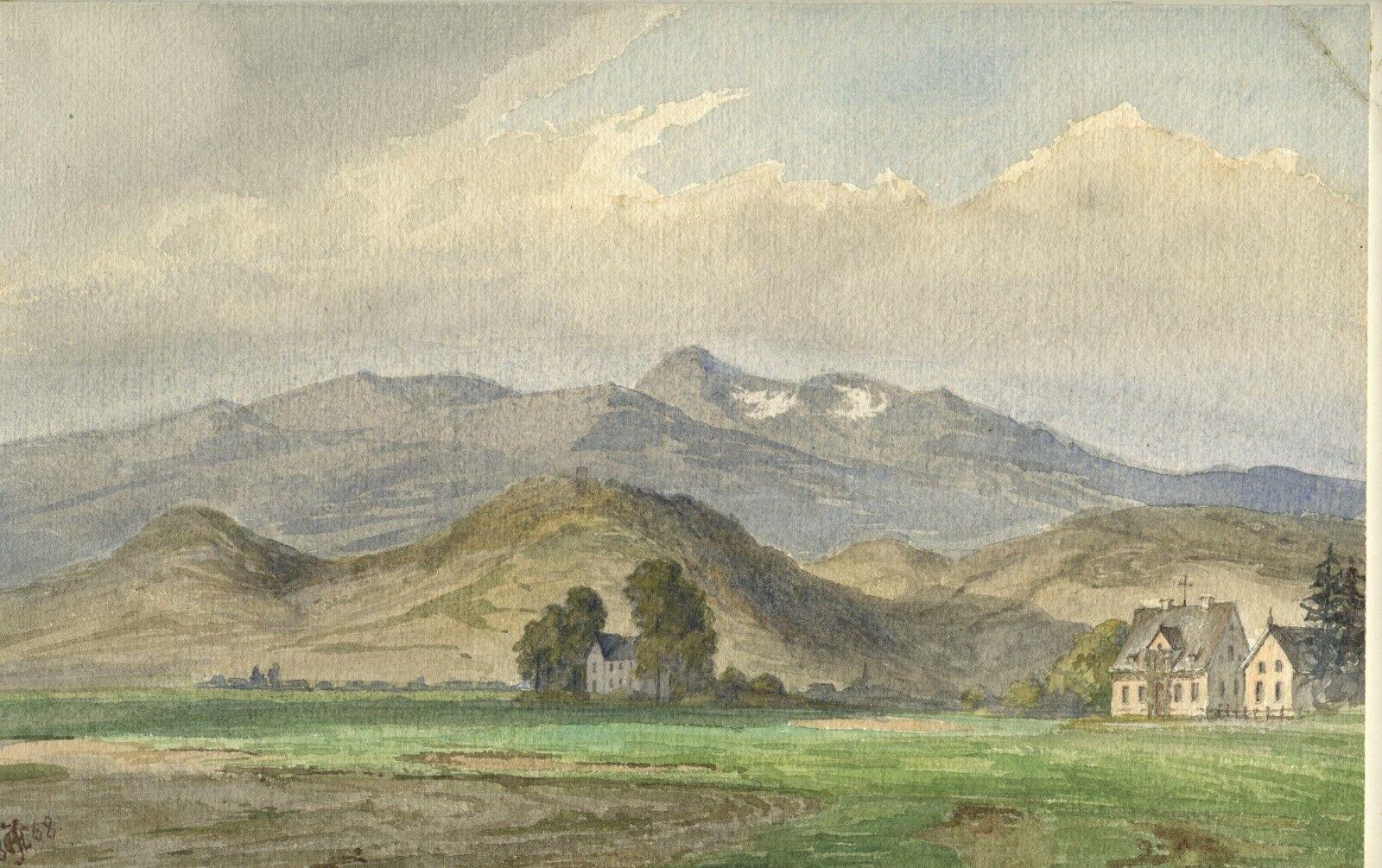 German School 1868 The Mountains Near Poland, Romantic Landscape, Eminent Woman - $59.99