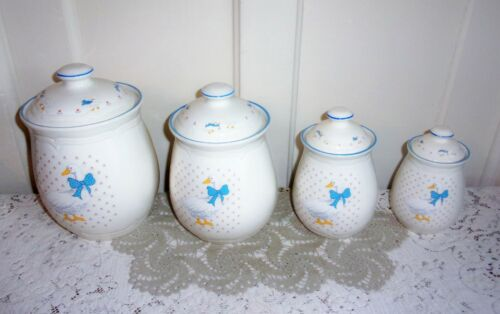 FOUR Vintage TIENSHAN Duck with Ribbon Stoneware Kitchen Canister Set with Lids