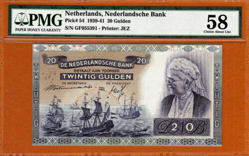 Netherlands 20 Gulden 1941 Pick-54 Ch About UNC PMG 58