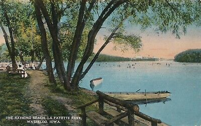 WATERLOO IA – Lafayette Park The Bathing Beach La Fayette - - Lafayette Bath