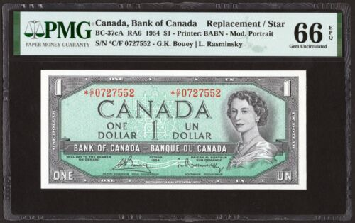 1954 Bank of Canada $1 Replacement Banknote, PMG UNC-66 EPQ