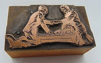 Printing Letterpress Printers Block Men Shaking Hands Over Desk
