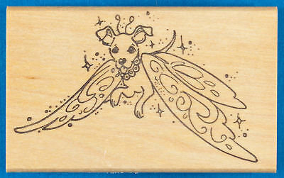 Little Dog Fairy Rubber Stamp - Small Dog with Butterfly Wings, Magic Sparkles Little Fairy Butterfly Wings
