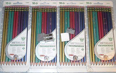 LOT 40 No #2 Dixon TICONDEROGA METALLIC COLORS Sharpened BLACK LEAD HB PENCILS +