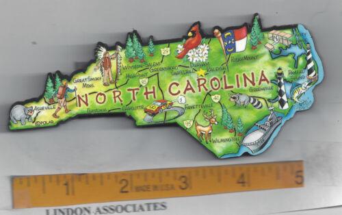 NORTH CAROLINA   ARTWOOD STATE MAP MAGNET  RALEIGH CHARLOTTE GREENSBORO DURHAM